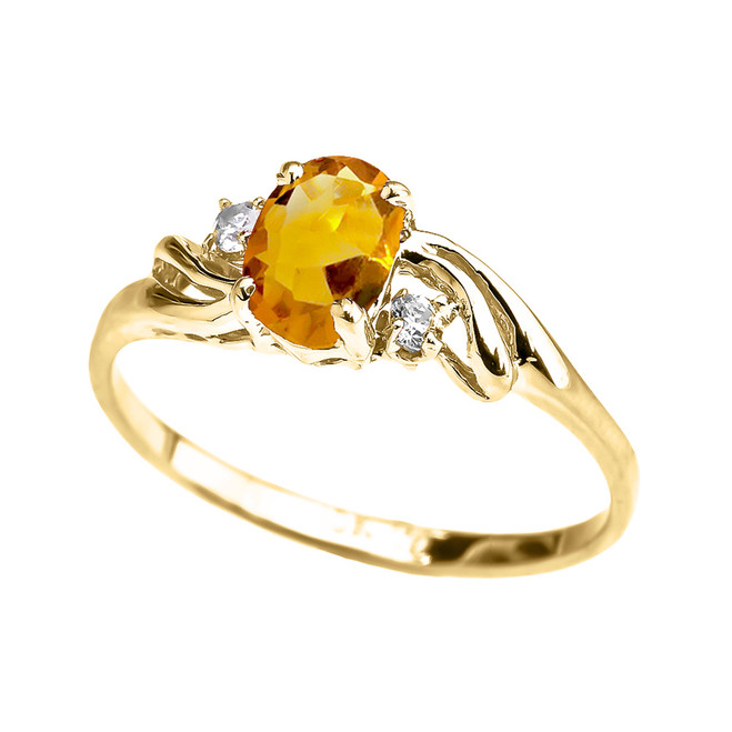 Yellow Gold CZ Citrine Oval Solitaire Proposal Ring