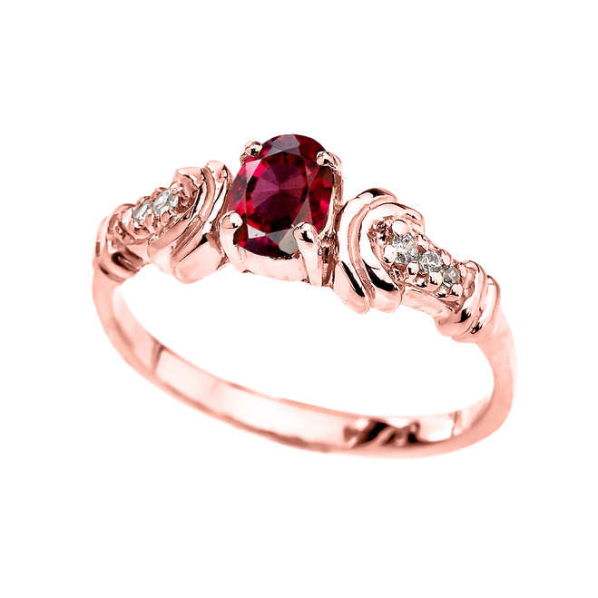 Rose Gold Diamond and Garnet Oval Solitaire Proposal Ring