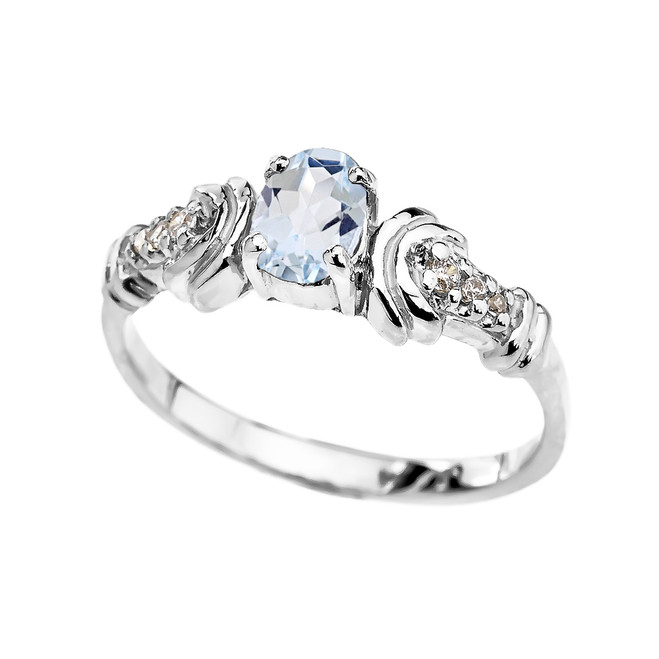 White Rose Gold Diamond and Aquamarine Oval Solitaire Proposal Ring