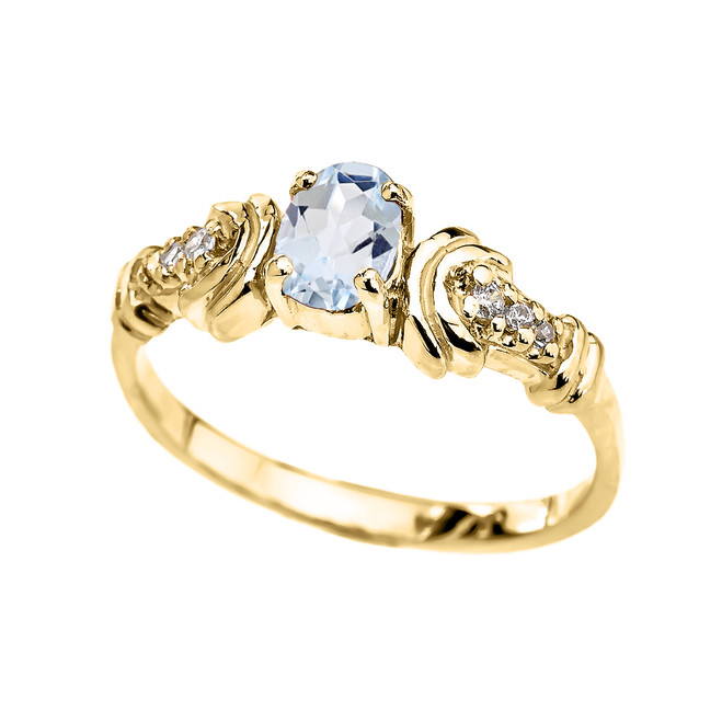 Yellow Gold Diamond and Aquamarine Oval Solitaire Proposal Ring