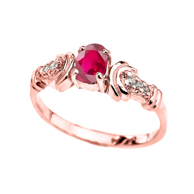 Rose Gold Diamond and Ruby Oval Solitaire Proposal Ring