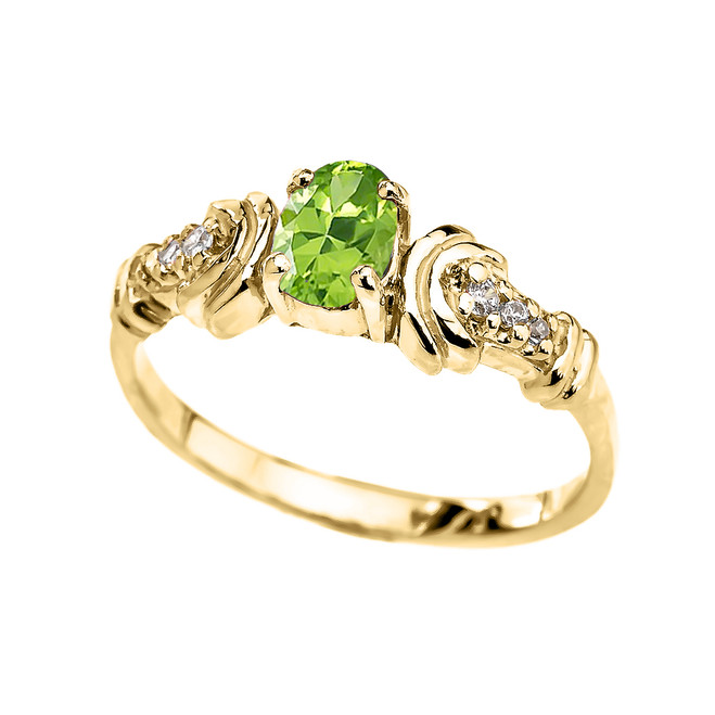 Yellow Gold Diamond and Peridot Oval Solitaire Proposal Ring