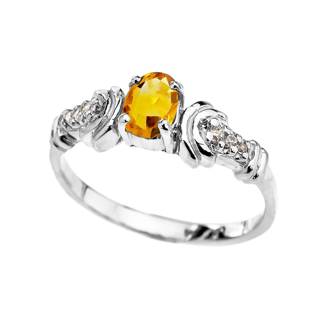 White Gold Diamond and Citrine Oval Solitaire Proposal Ring