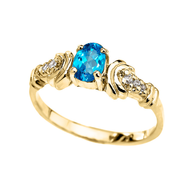 Yellow Gold Diamond and Blue Topaz Oval Solitaire Proposal Ring