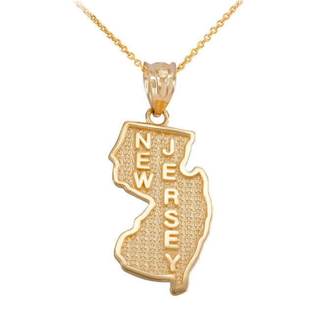 Yellow Gold New Jersey State Map Pendant Necklace