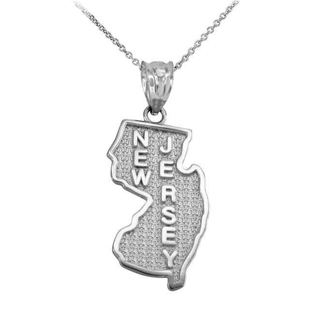 Sterling Silver New Jersey State Map Pendant Necklace