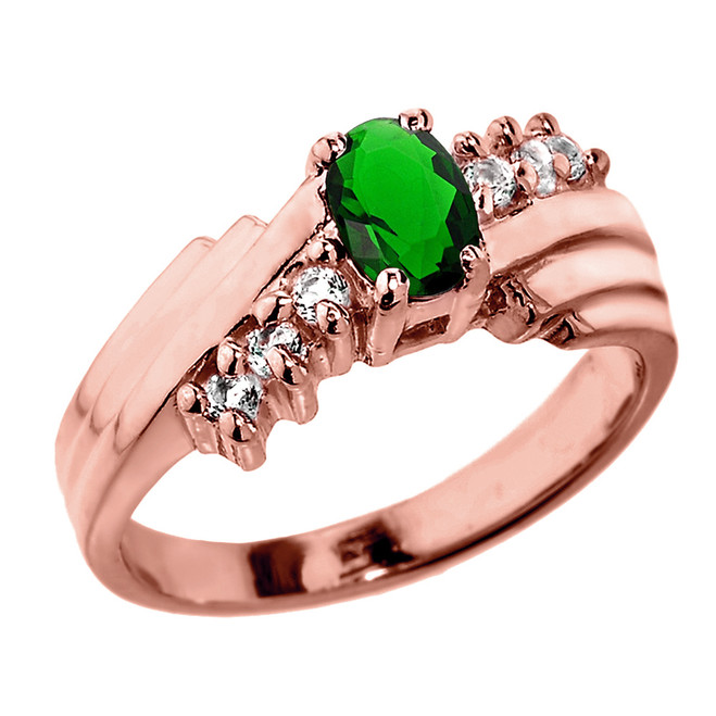 Dazzling Rose Gold Diamond and Emerald Proposal Ring