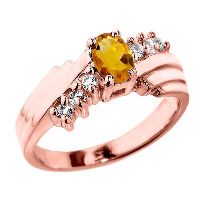 Dazzling Rose Gold Diamond and Citrine Proposal Ring