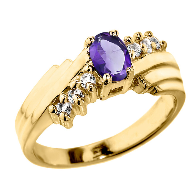 Dazzling Yellow Gold Diamond and Amethyst Proposal Ring