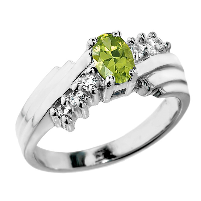Dazzling White Gold Diamond and Peridot Proposal Ring