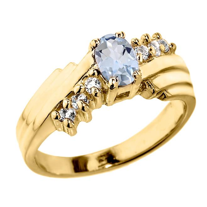 Dazzling Yellow Gold Diamond and Aquamarine Proposal Ring