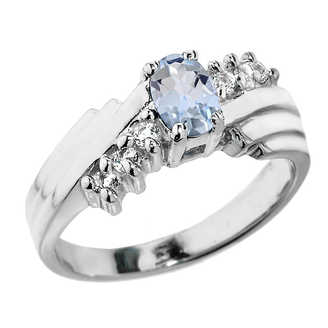 Dazzling White Gold Diamond and Aquamarine Proposal Ring