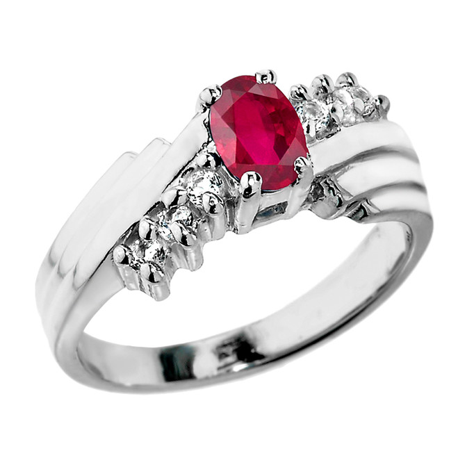 Sterling Silver White Topaz and (LCR) Ruby Ladies Ring