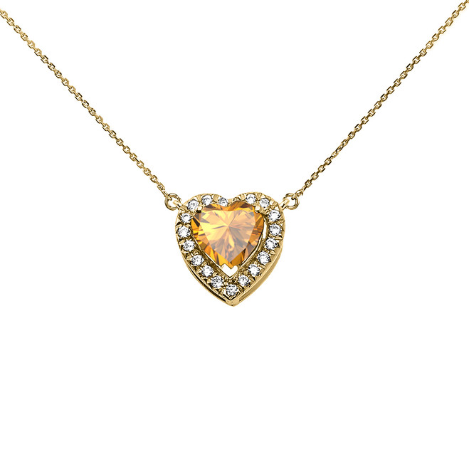 Elegant Yellow Gold Diamond and November Birthstone Yellow Heart Solitaire Necklace