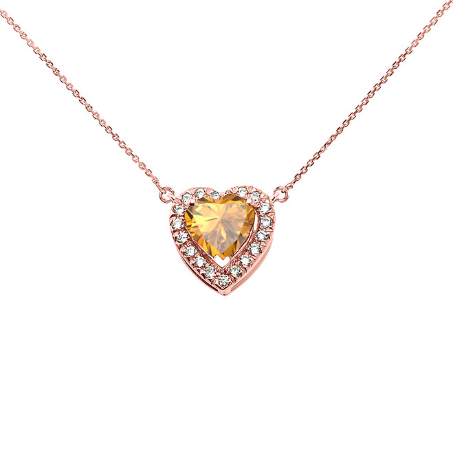 Elegant Rose Gold Diamond and November Birthstone Yellow Heart Solitaire Necklace