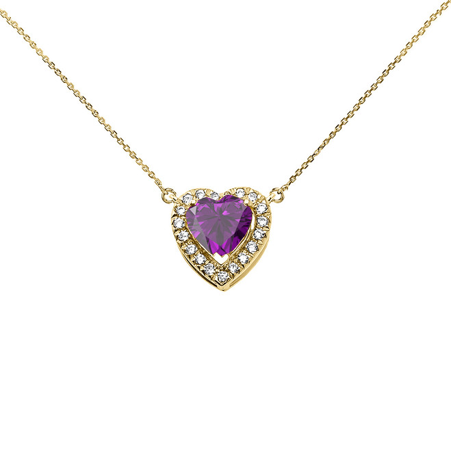 Elegant Yellow Gold Diamond and February Birthstone Amethyst Heart Solitaire Necklace