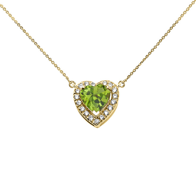 Elegant Yellow Gold Diamond and August Birthstone Heart Solitaire Necklace