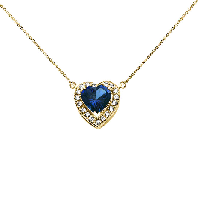 Elegant Yellow Gold Diamond and September Birthstone Blue Heart Solitaire Necklace