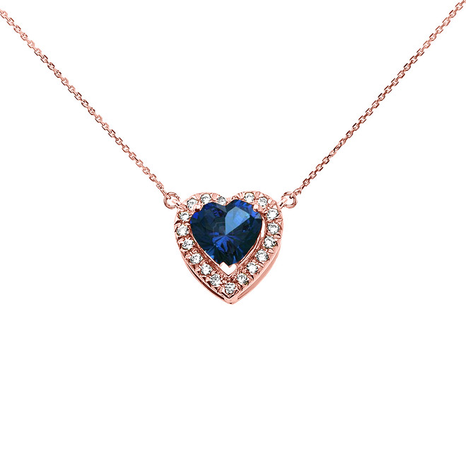 Elegant Rose Gold Diamond and September Birthstone Blue Heart Solitaire Necklace