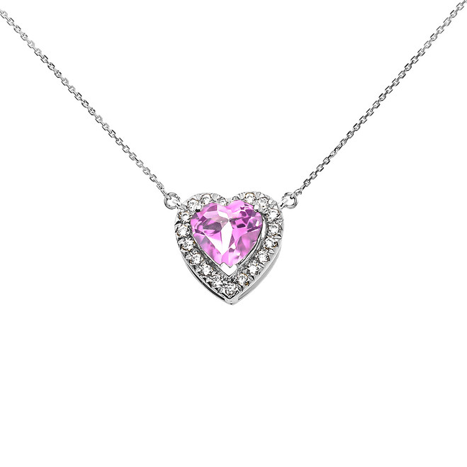 Elegant White Gold Diamond and October Birthstone CZ Pink Heart Solitaire Necklace