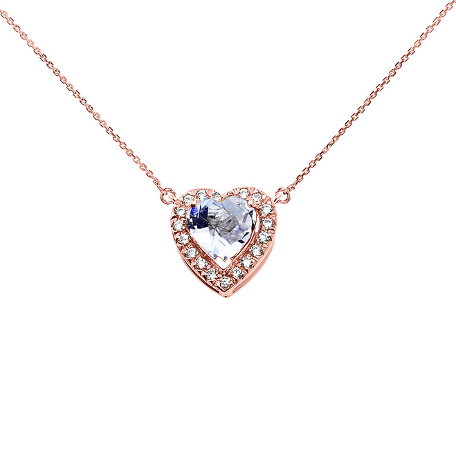Elegant Rose Gold Diamond and March Birthstone Aquamarine Heart Solitaire Necklace
