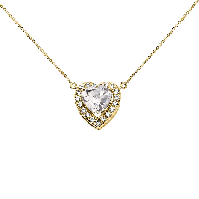 Elegant Yellow Gold Diamond and April Birthstone Heart Solitaire Necklace