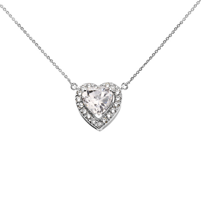 Elegant White Gold Diamond and April Birthstone Heart Solitaire Necklace