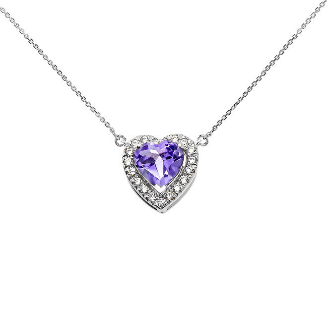 Elegant White Gold Diamond and June Birthstone Heart Solitaire Necklace
