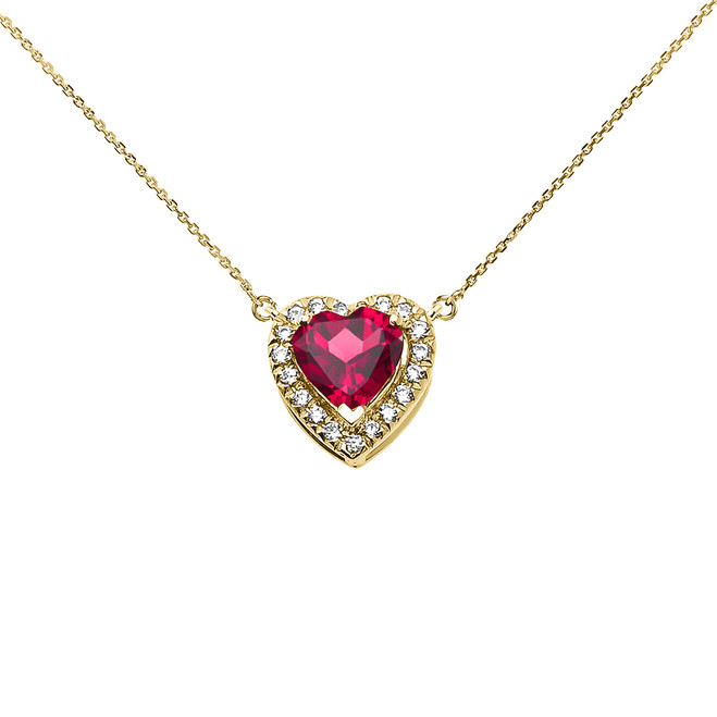 Elegant Yellow Gold Diamond and July Birthstone Heart Solitaire Necklace