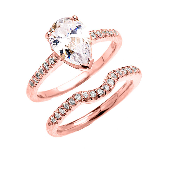 Rose Gold Dainty Diamond Wedding Ring Set With 3 Carat Pear Shape Cubic Zirconia Center Stone
