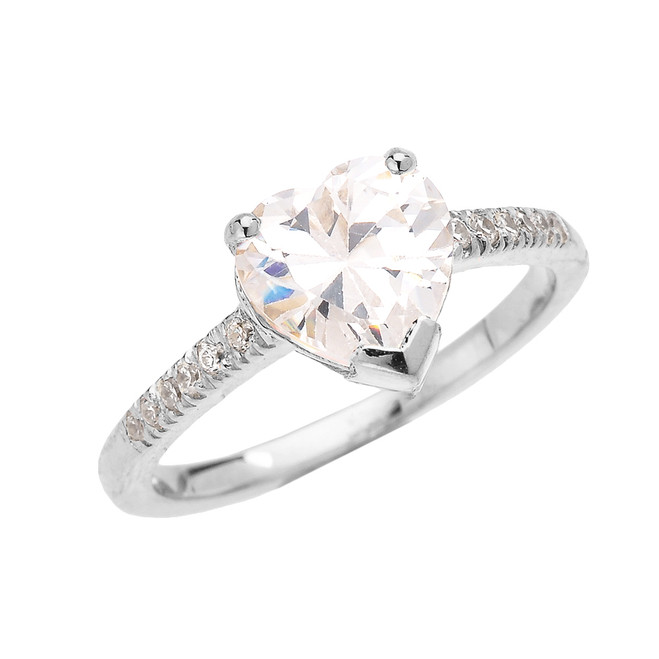White Gold Dainty Diamond Engagement Ring With 3 Carat Heart Shape Cubic Zirconia Center Stone