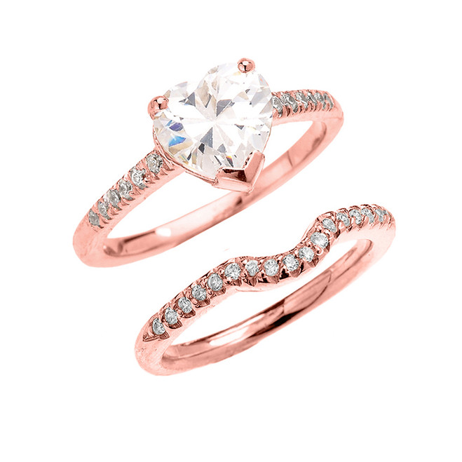 Rose Gold Dainty Diamond Wedding Ring Set With 3 Carat Heart Shape Cubic Zirconia Center Stone