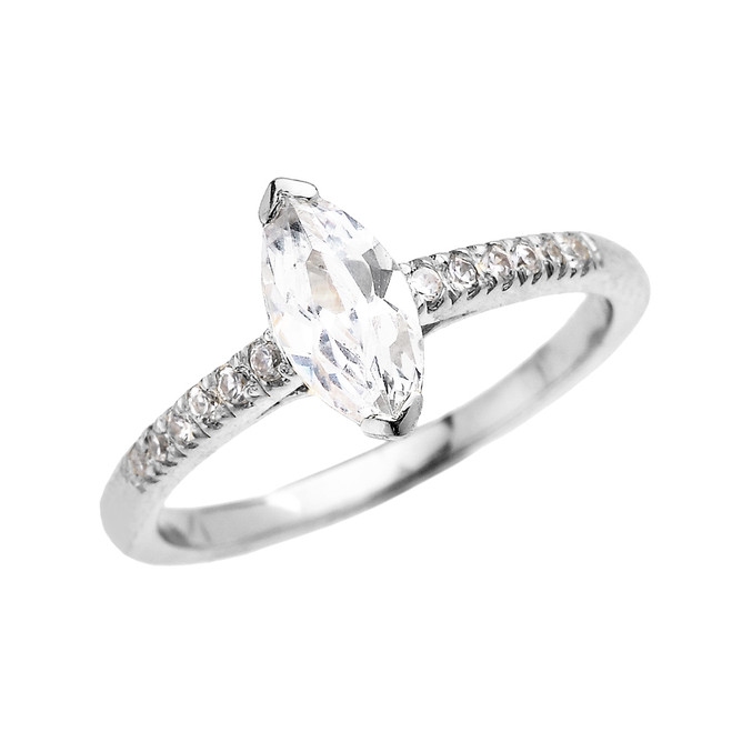 White Gold Dainty Diamond Engagement Ring With 1.25 Carat Marquise Shape Cubic Zirconia Center Stone