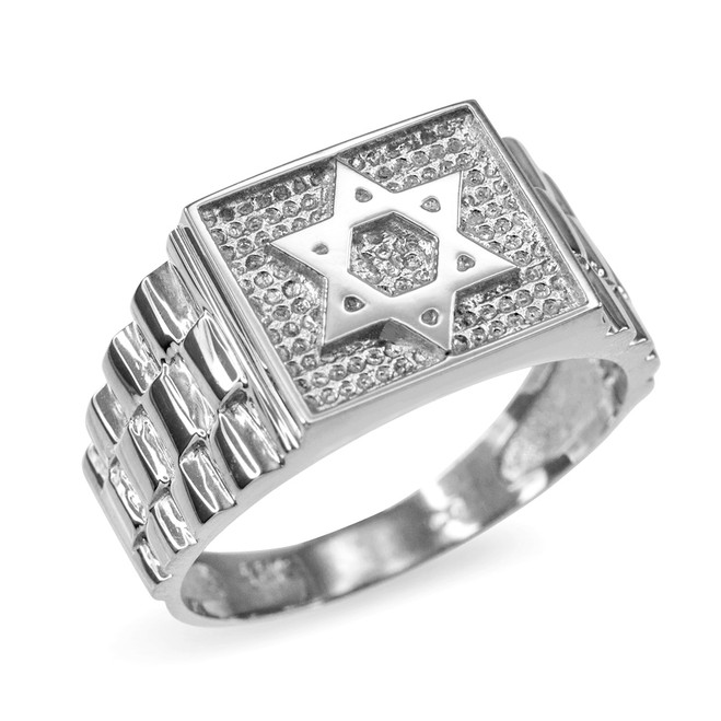 White Gold Star of David Watchband Ring