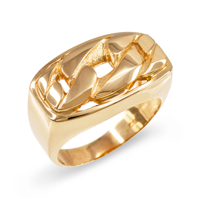 Gold Cuban Link Statement Ring