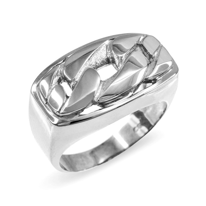 Sterling Silver Cuban Link Statement Ring