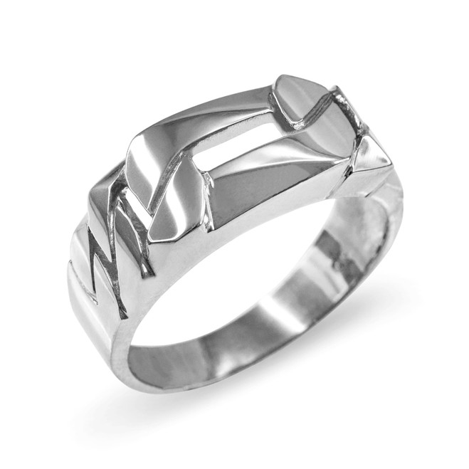 Sterling Silver Figaro Link Chain Ring