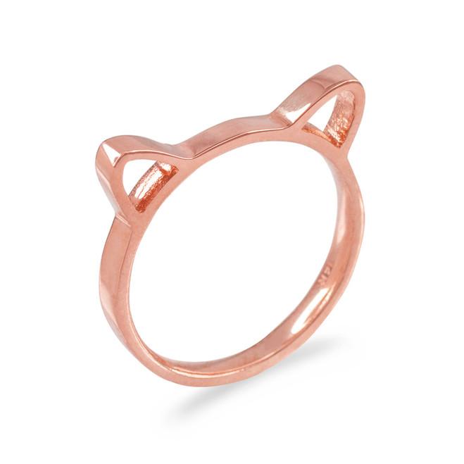 Rose Gold Kitten Silhouette Ladies Ring Band