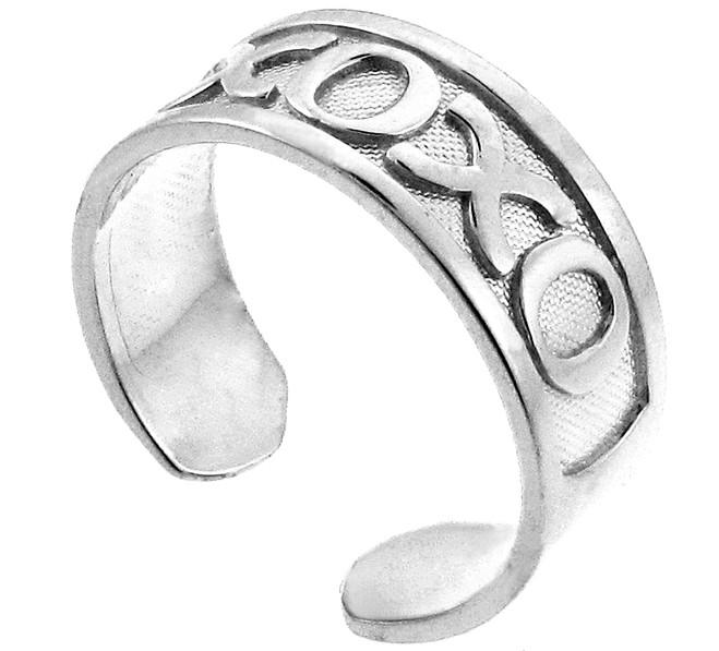 White Gold XOXO Toe Ring