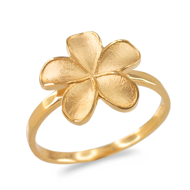 Gold Matte Finish Hawaiian Plumeria Flower Ring
