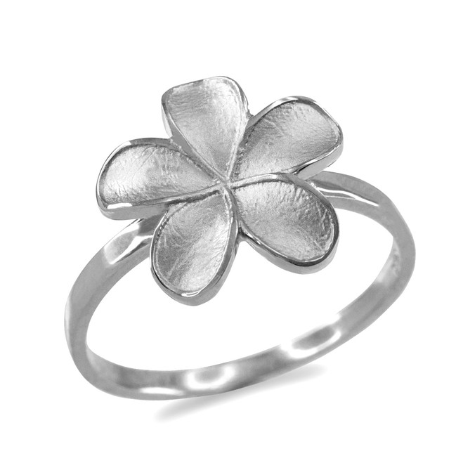 Sterling Silver Matte Finish Hawaiian Plumeria Flower Ring