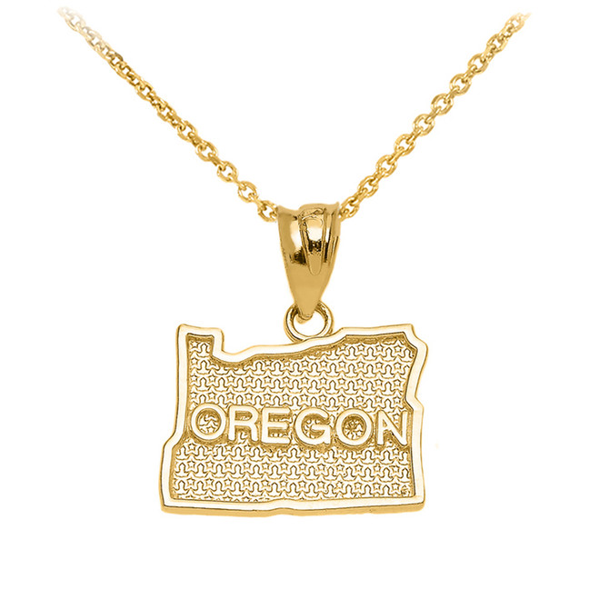 Yellow Gold Oregon State Map Pendant Necklace