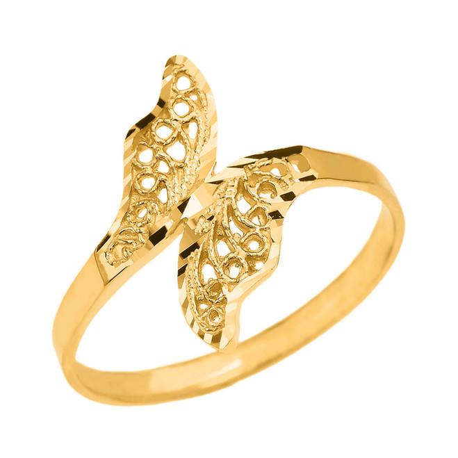 Gold Diamond Cut Filigree Unique Leaf Wrap Ring