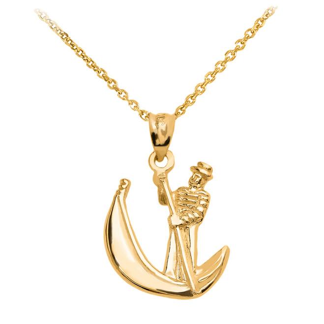 Gold Polished Gondola Pendent Necklace