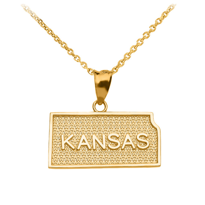 Yellow Gold Kansas State Map Pendant Necklace