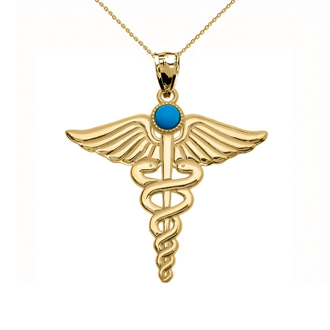 """Yellow Gold Turquoise """"Caduceus""""  Medical Pendant Necklace"""