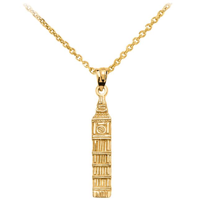 Yellow Gold London's Big Ben Clock Tower Pendant Necklace