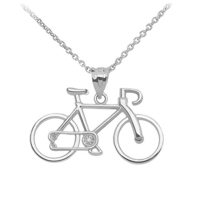 White Gold Bicycle Pendant Necklace