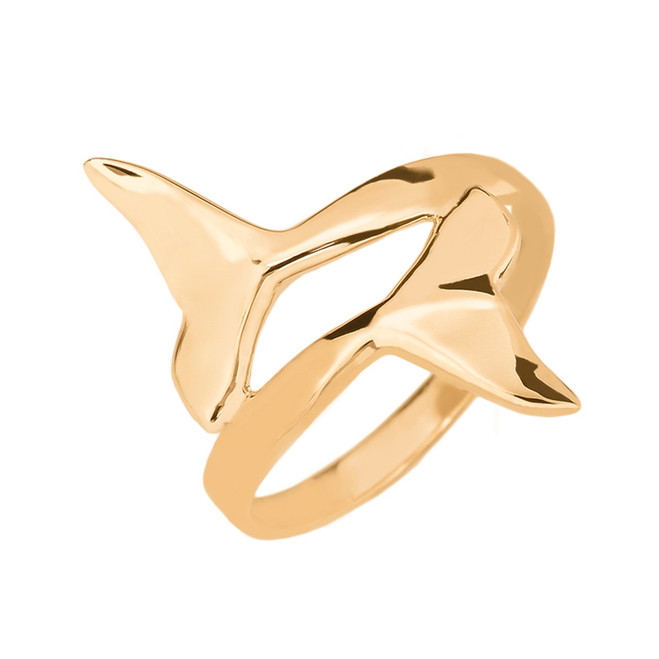 Gold Dolphin Tail Double Wrap Ring