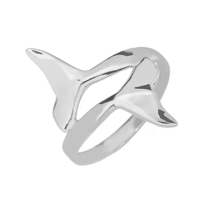 Sterling Silver Dolphin Tail Double Wrap Ring